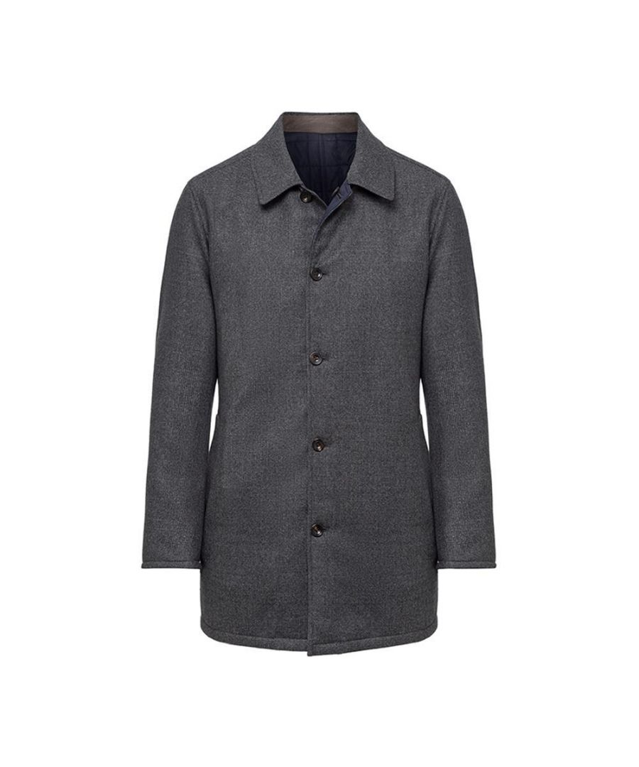 Image for Men's Hackett, Mayfair Rev Quilted Mac in Navy Multicolour
