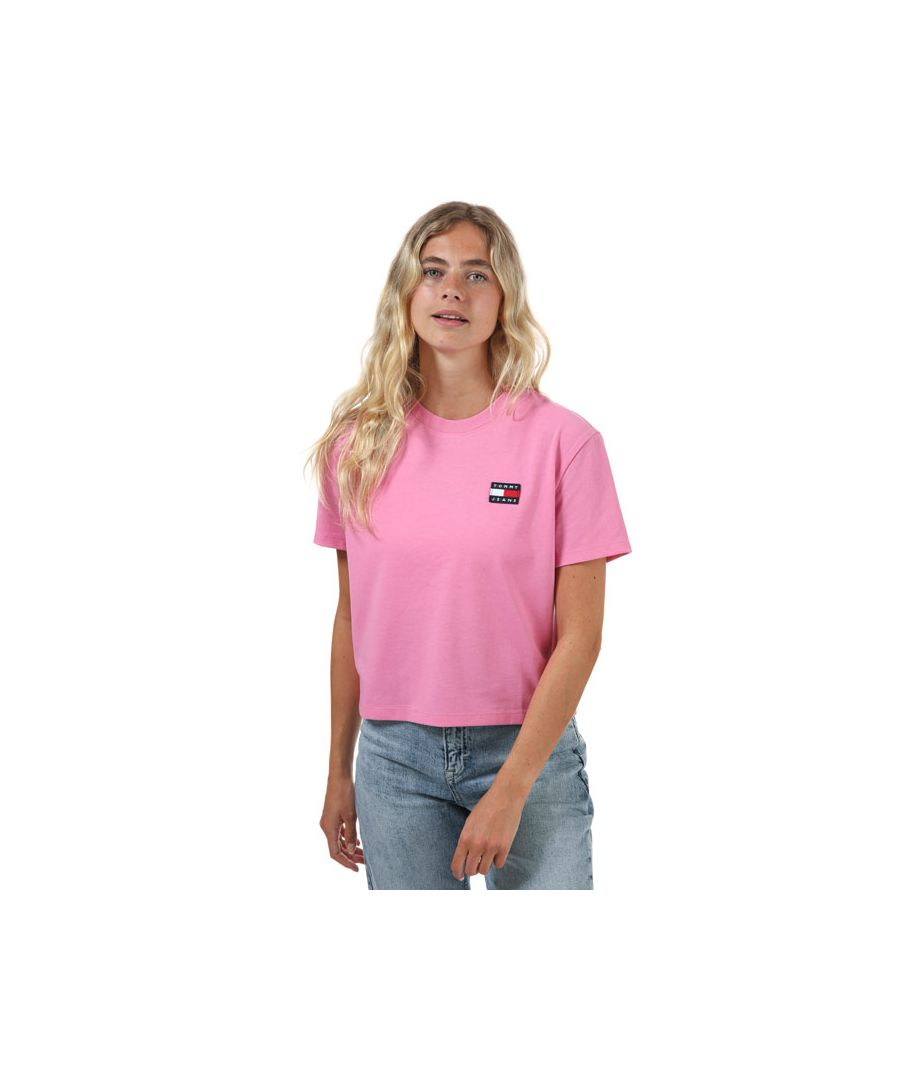 Image for Women's Tommy Hilfiger Tommy Badge Crew Neck T-Shirt in Pink
