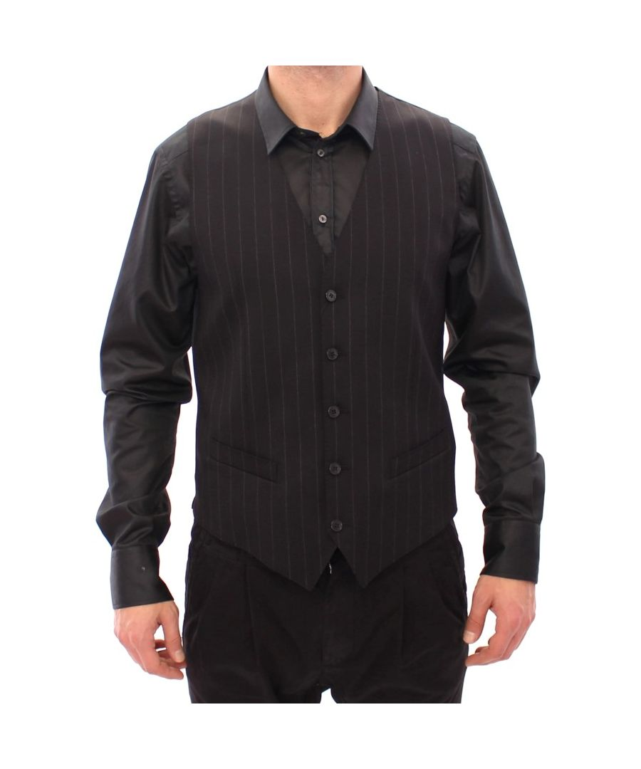 Image for Dolce & Gabbana Black Striped Wool Logo Vest