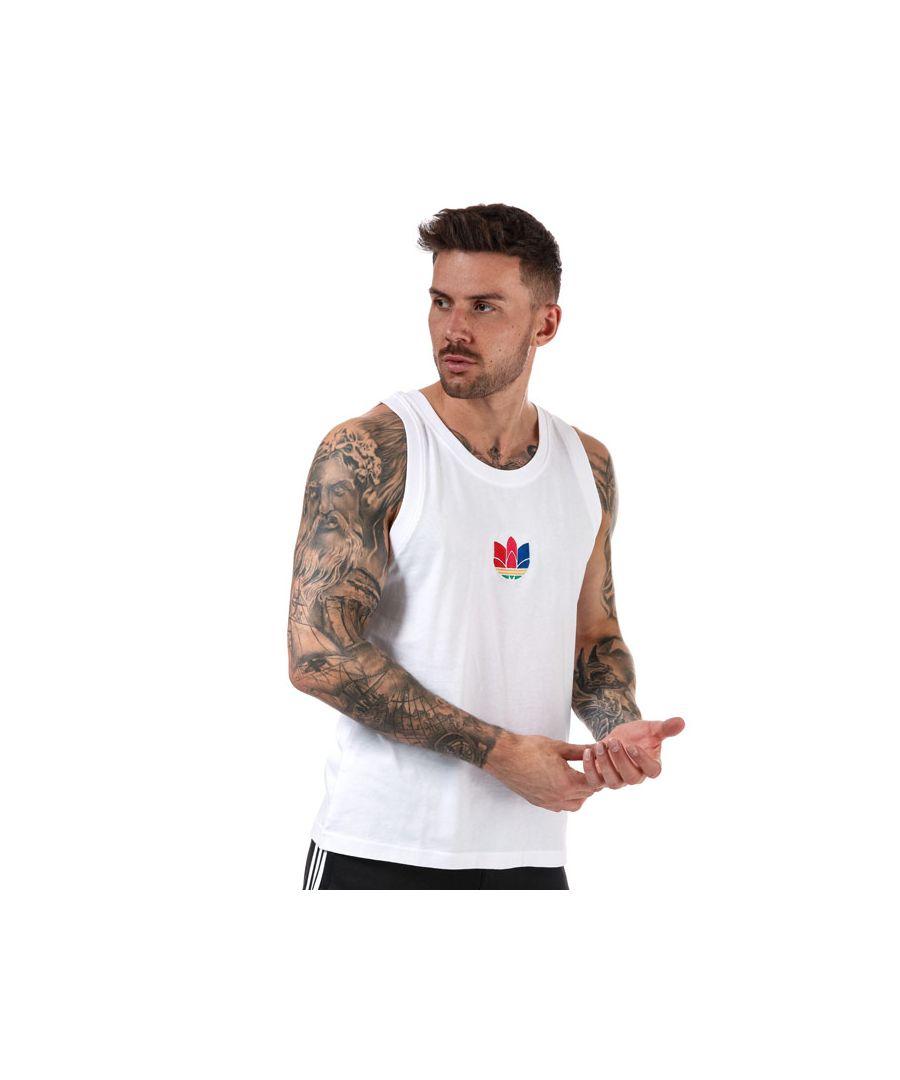 Image for Men's adidas Originals Adicolor 3D Trefoil Tank Top in White