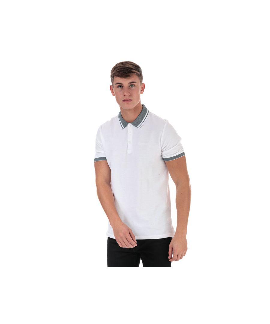 Image for Men's Ben Sherman Birds Eye Collar Polo Shirt in White