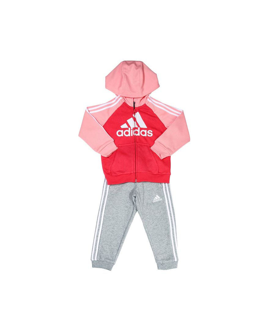 Image for Girls' adidas Infant French Terry Tracksuit Pink grey 5-6in Pink grey