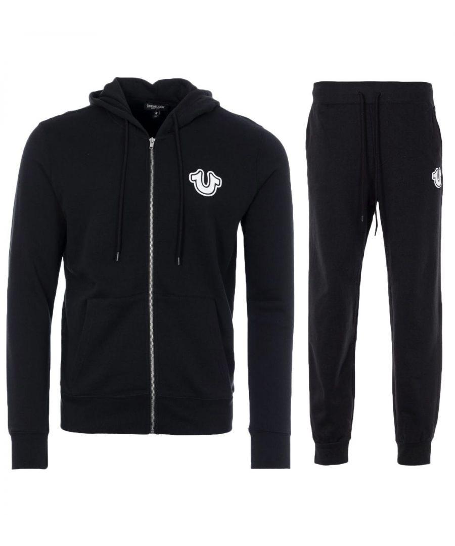 Image for True Religion Core Horseshoe Hooded Sweatshirt Tracksuit Set - Black