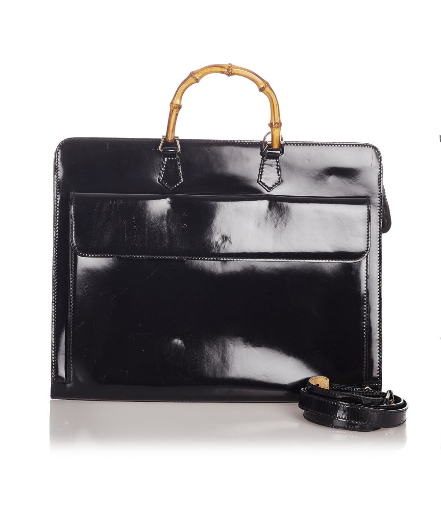 Image for Vintage Gucci Bamboo Patent Leather Business Bag Black