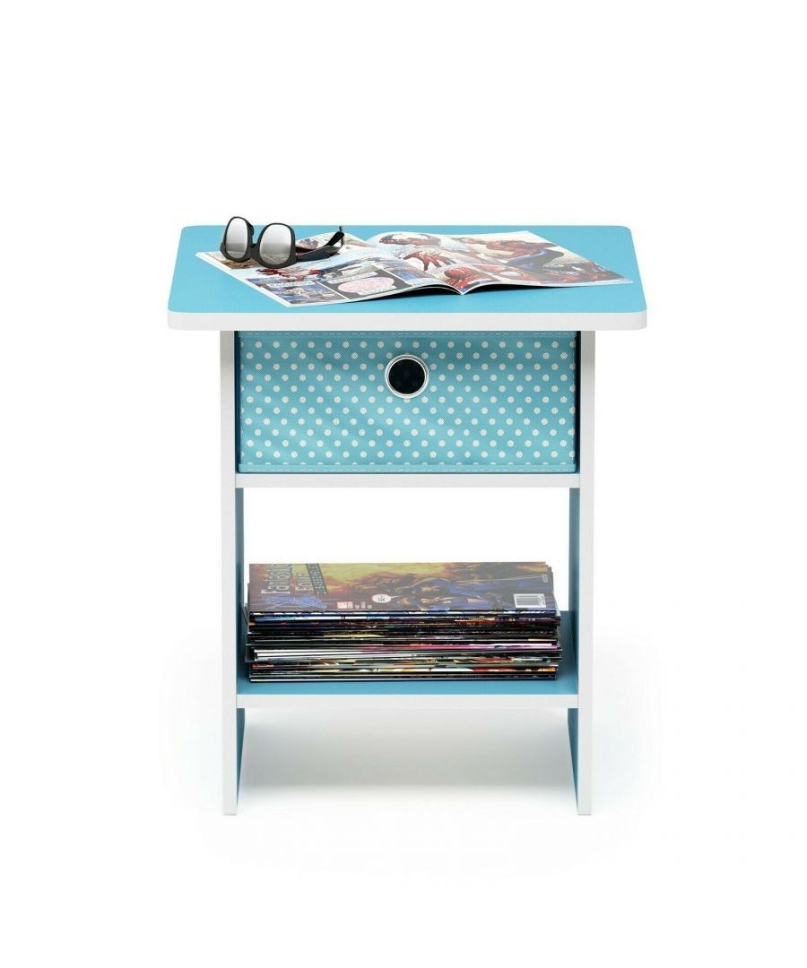 Image for Furinno Dario End Table Night Stand Storage Shelf with Bin Drawer - Light Blue