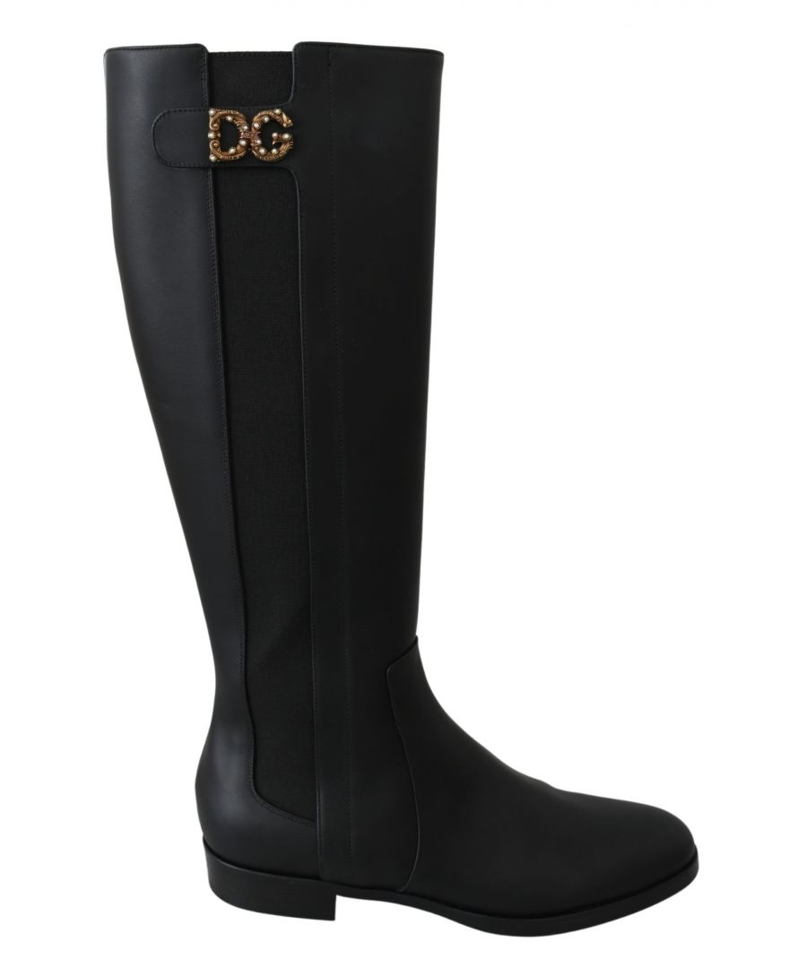 Image for Dolce & Gabbana Black Leather Knee High Boots Shoes