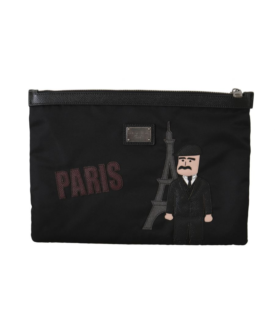Image for Dolce & Gabbana Black PARIS #dgfamily Canvas Leather Bag