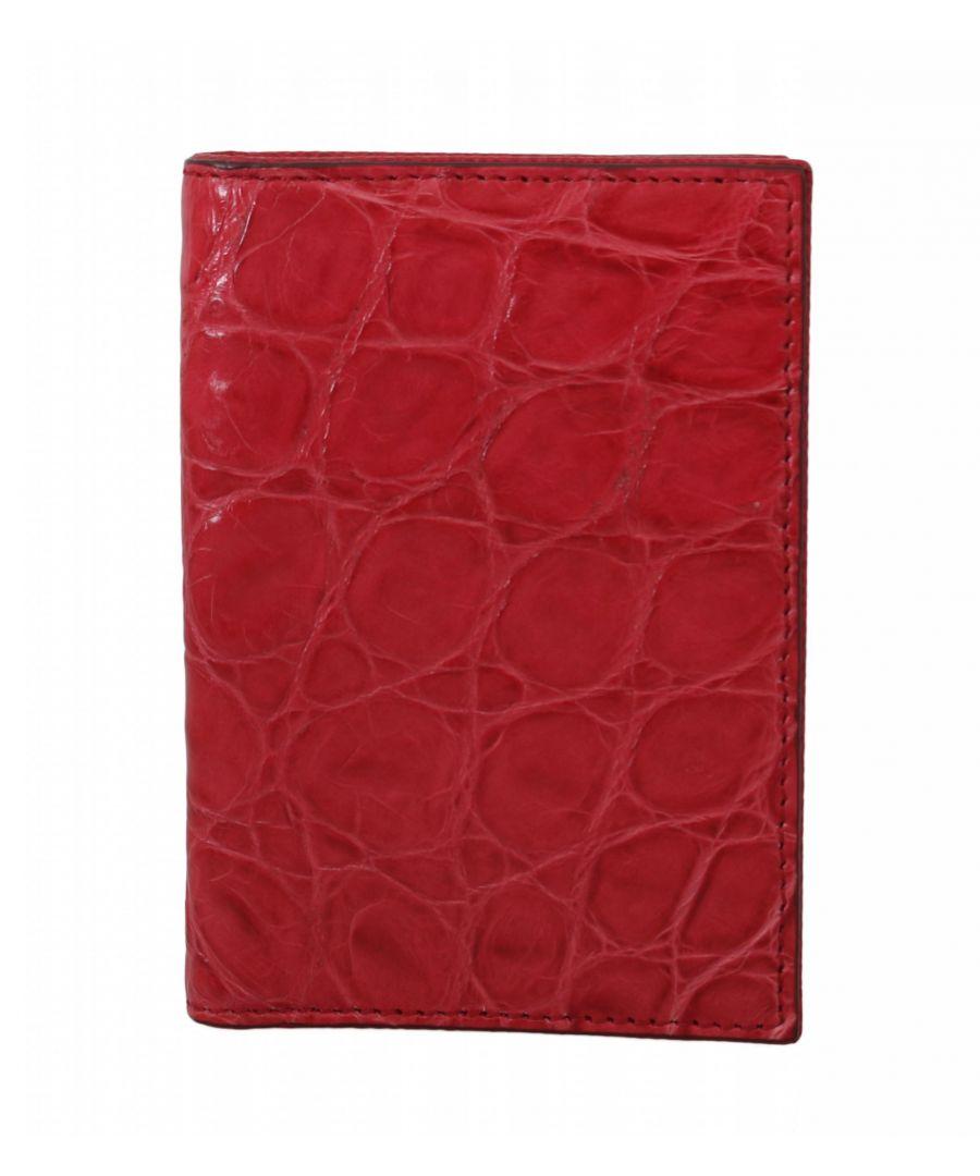 Image for Dolce & Gabbana Red Caiman Alligator Cardholder Bifold Mens Wallet