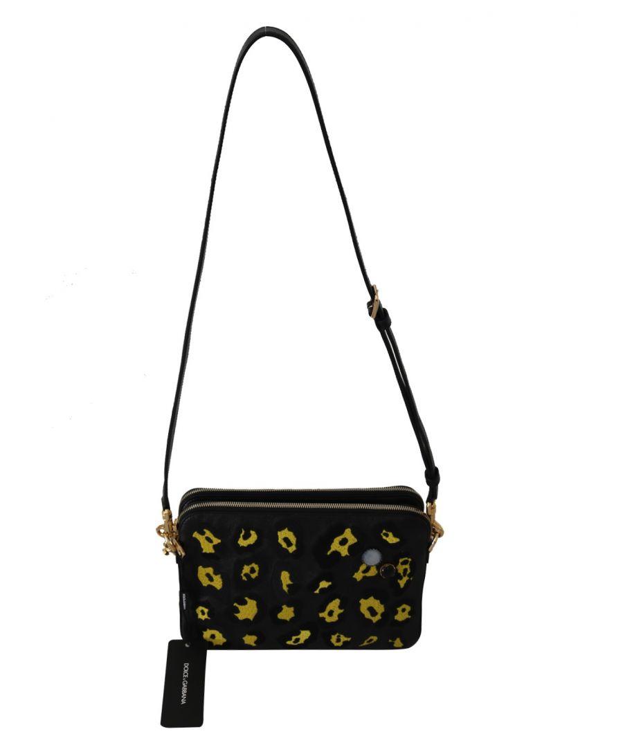 Image for Dolce & Gabbana Black yellow Leopard Shoulder Purse