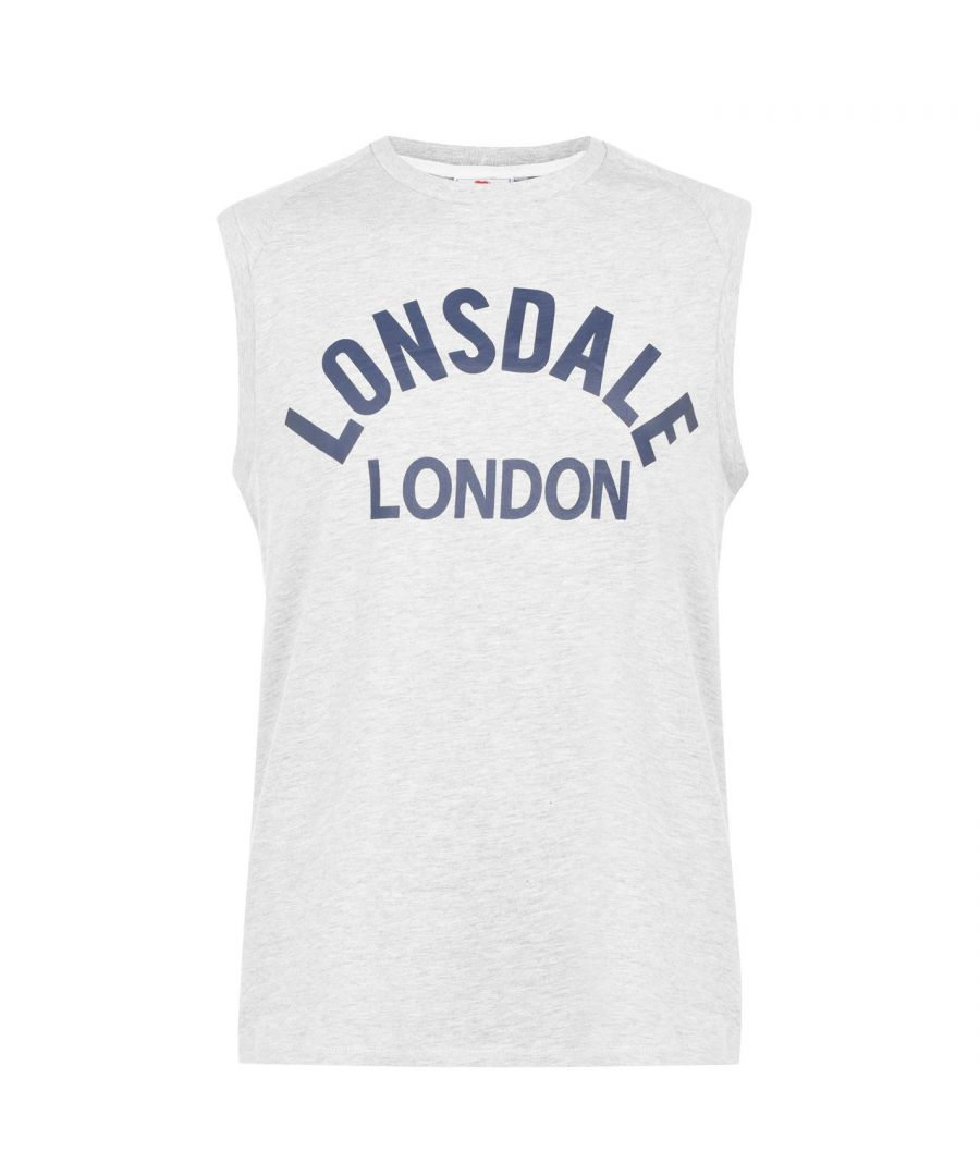 Image for Lonsdale Mens Box Tank Vest Crew Neck Cotton Boxing Sleeveless MMA Sports Top