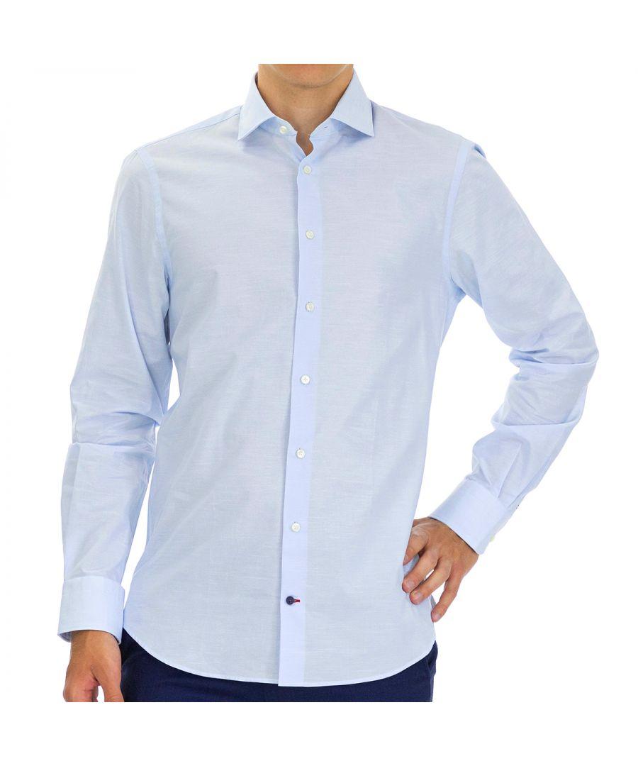 Image for Tommy Hilfiger Men's Shirt Poplin Slim Fit Full Sleeve Light Blue
