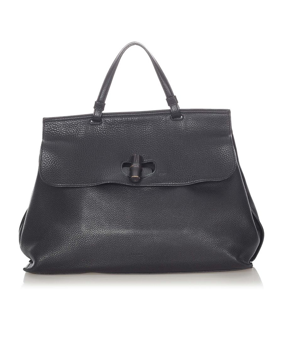 Image for Vintage Gucci Bamboo Daily Leather Handbag Black