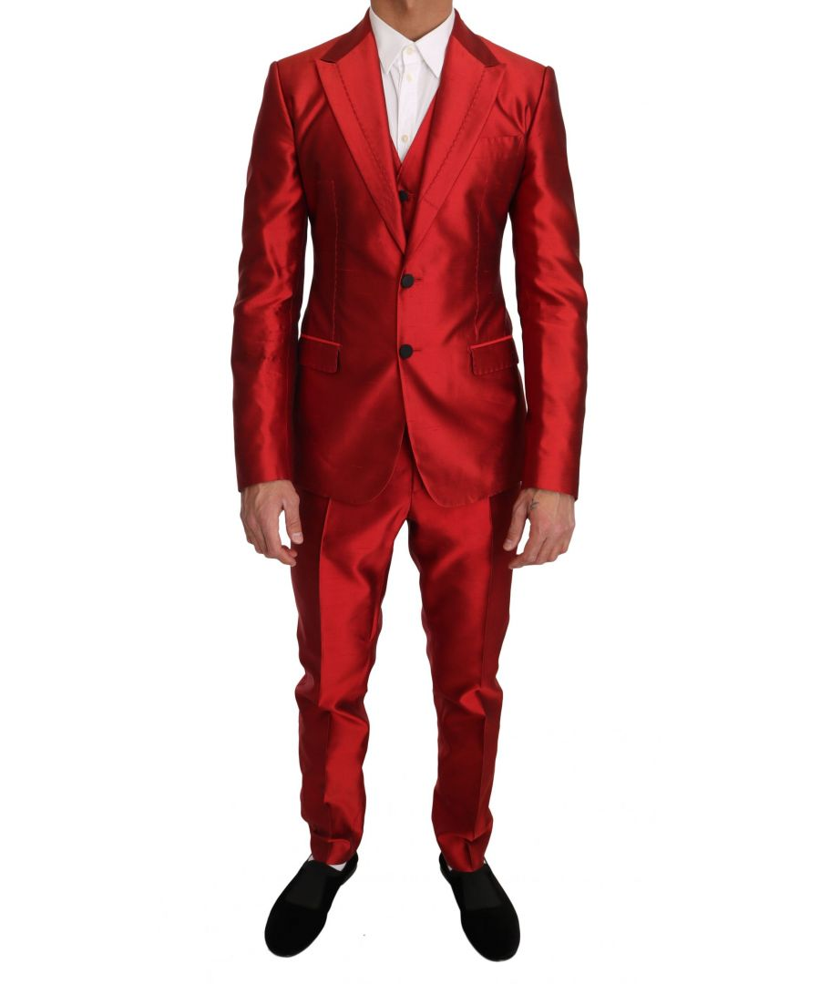Image for Dolce & Gabbana Red Silk Slim Fit 3 Piece Two Button Suit