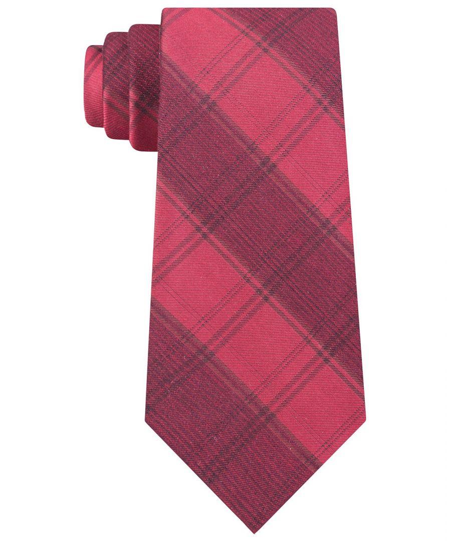 Image for Calvin Klein Men's Red Molten Macro Plaid Neck Tie Silk Accessory