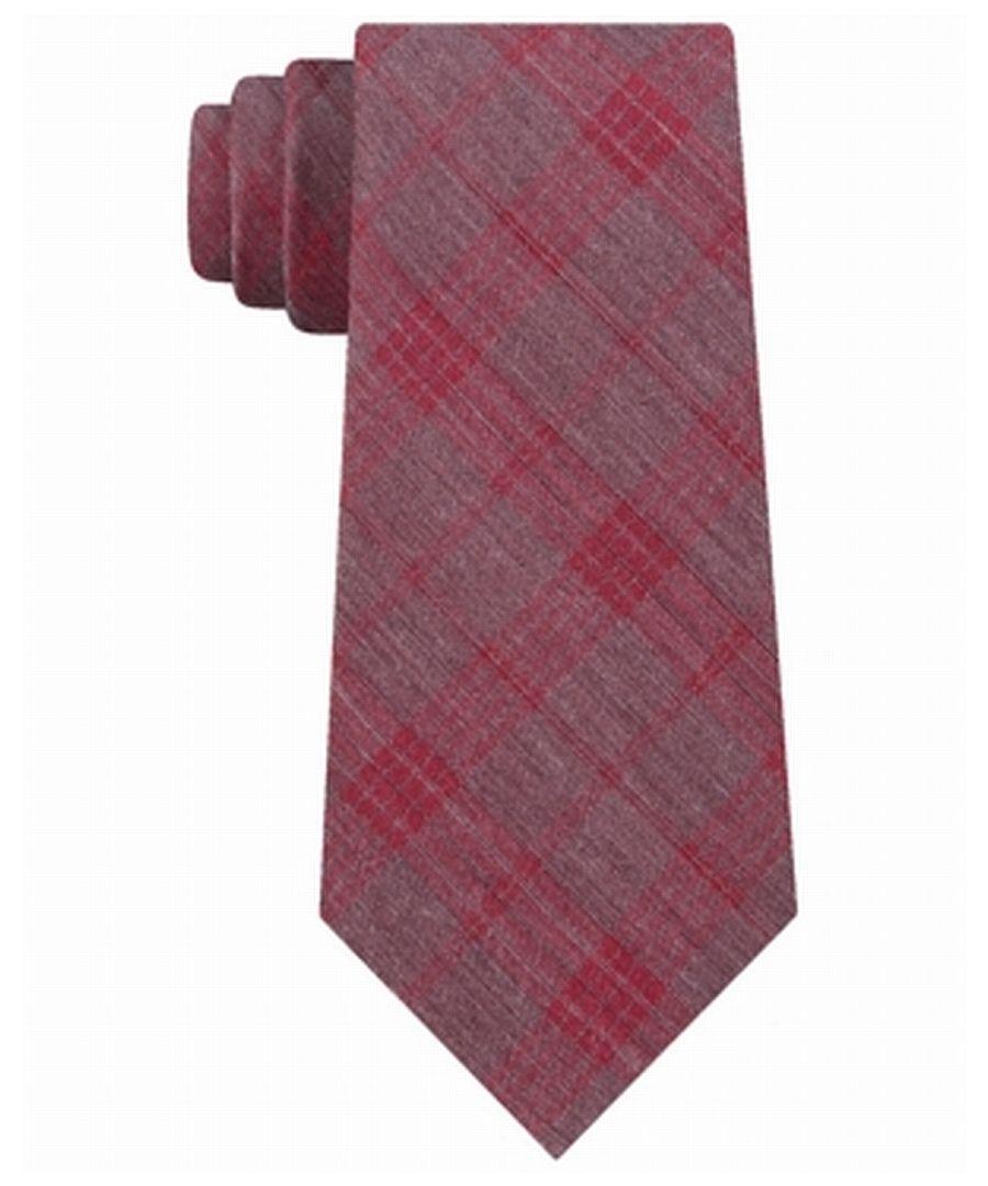 Image for Calvin Klein Mens Red Molten Plaid Print Classic Slim Neck Tie Silk