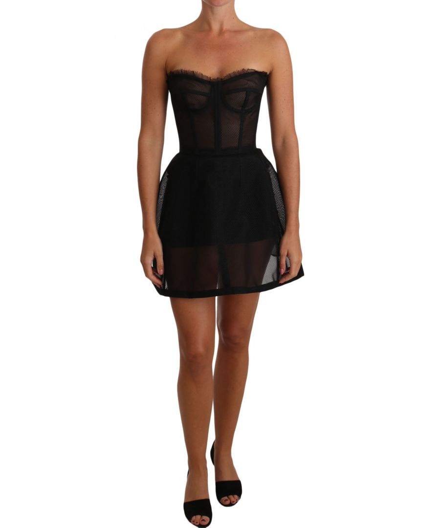 Image for Dolce & Gabbana Black Transparent Bustier Corset Dress