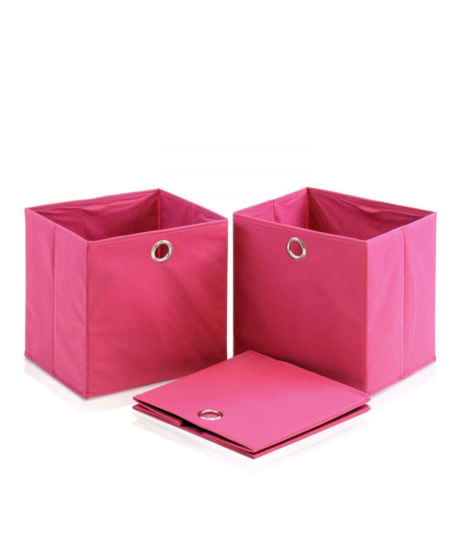 Image for Furinno Laci Foldable Storage Organizer with Round Ring Handle, Set of 3, Pink