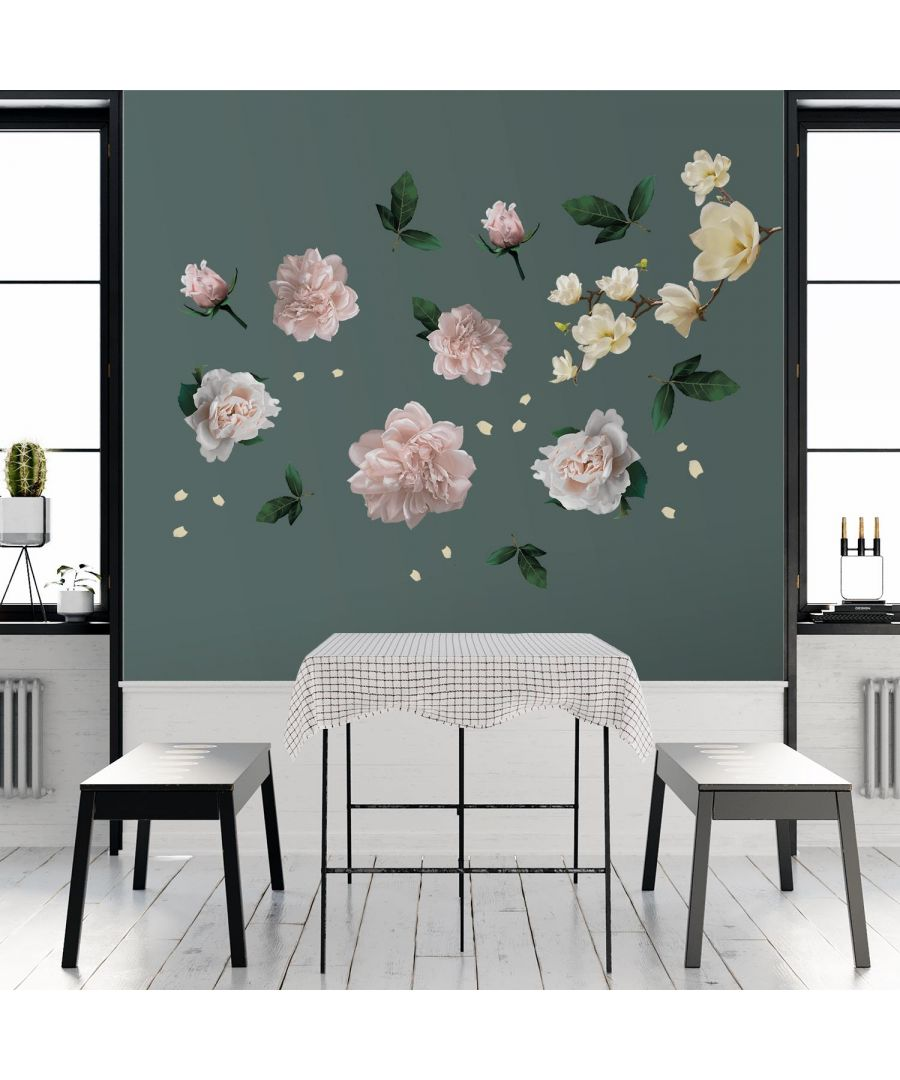 Image for White Magnolia With Roses self Adhesive DIY Wall Sticker, Living room wall sticker