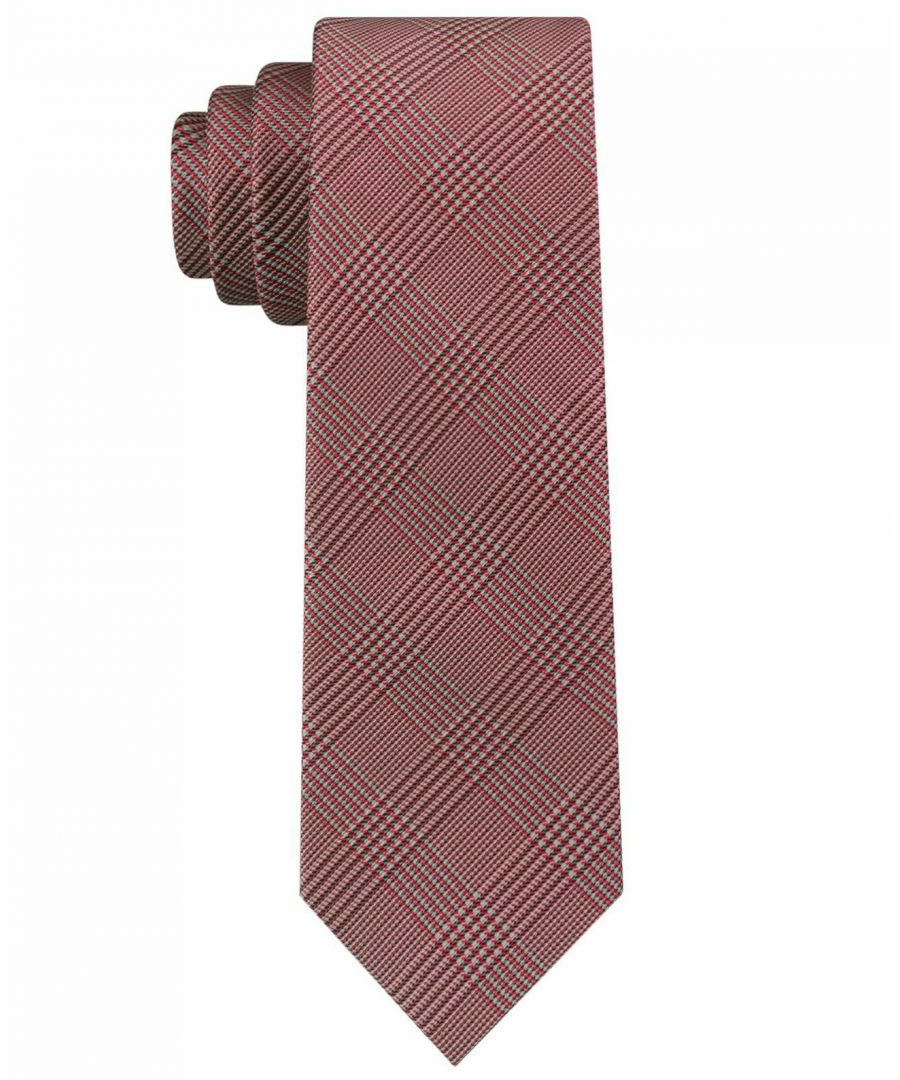 Image for Calvin Klein Men's Red Tech Glen Plaid Skinny Slim Neck Tie Silk