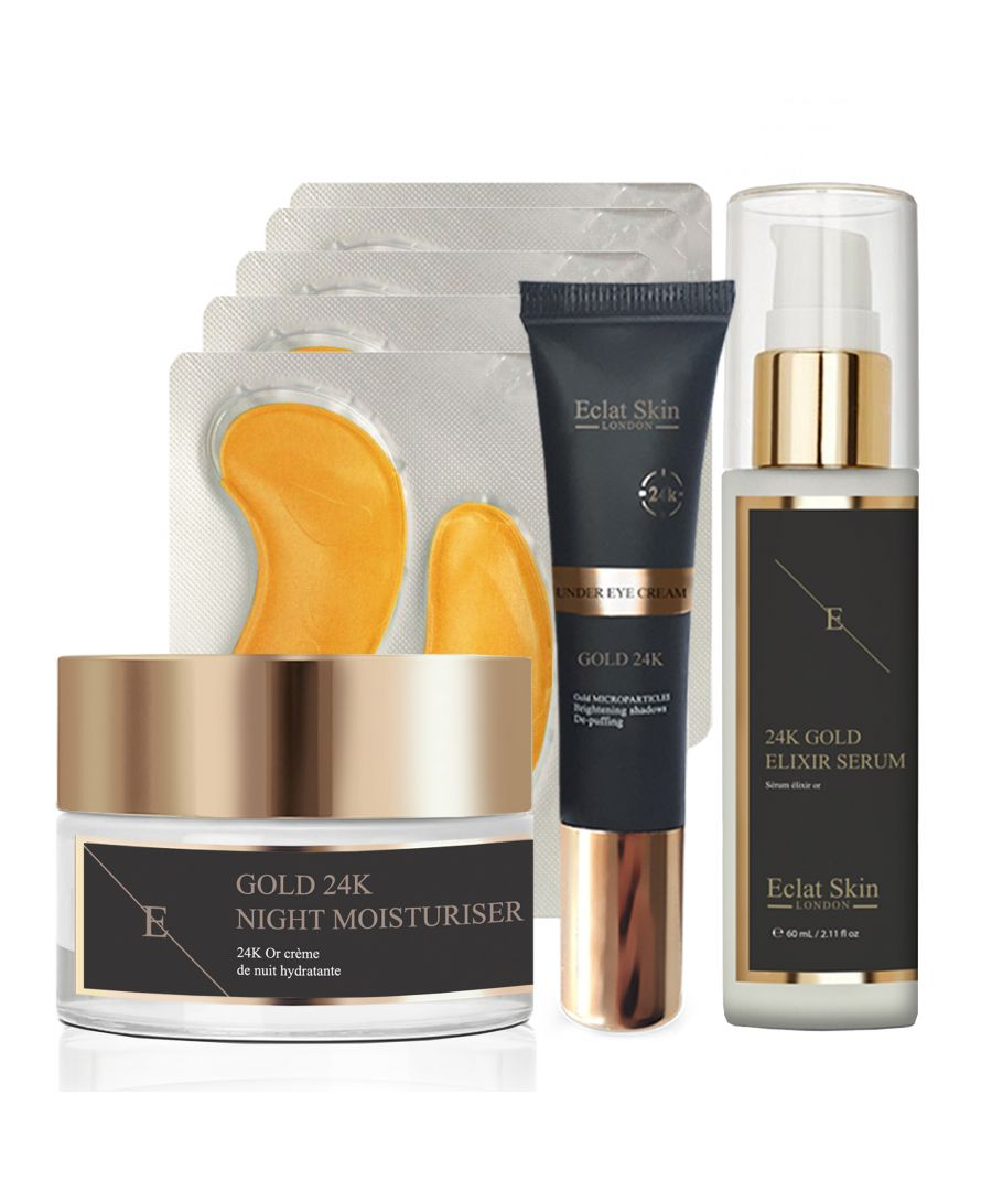 Image for Anti-Wrinkle Elixir Serum 24K Gold + Anti-Wrinkle Night Moisturiser 24K Gold + Under Eye Cream 24K Gold + Collagen Gold Under Eye Patch 24K Gold - 5 x 2 Pads