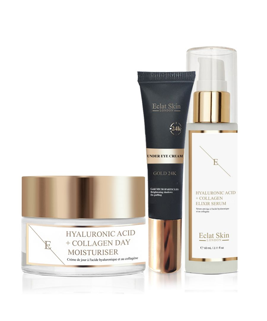 Image for Hyaluronic Acid & Collagen Amino Acids Day Cream + Hyaluronic Acid & Collagen Serum - 60ml + Under Eye Cream 24K Gold - 15ml