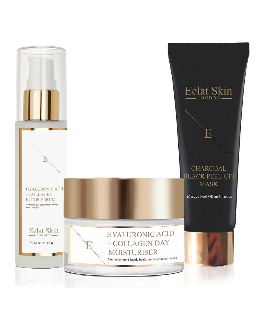 Image for Hyaluronic Acid & Collagen Amino Acids Day Cream + Hyaluronic Acid & Collagen Serum - 60ml + Purifying Charcoal Black Peel-Off Mask 24K Gold - 50ml