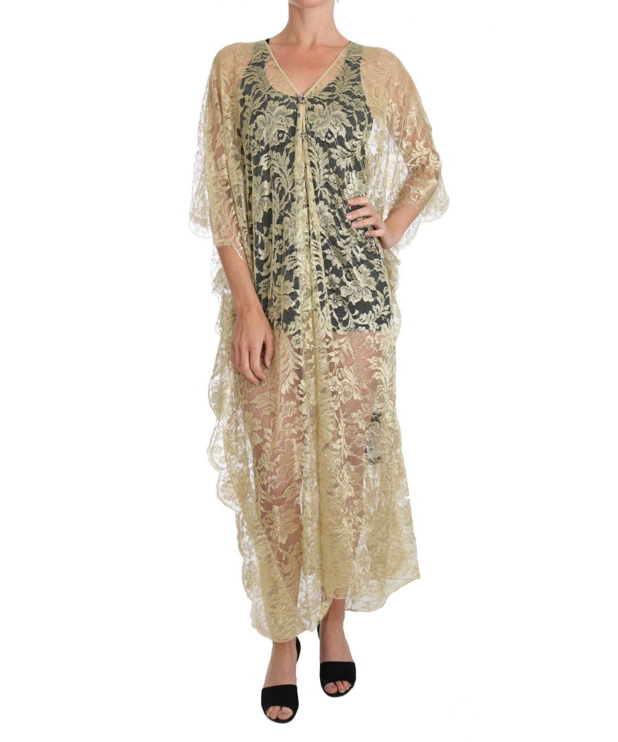 Image for Dolce & Gabbana Gold Floral Lace Crystal Gown Cape Dress