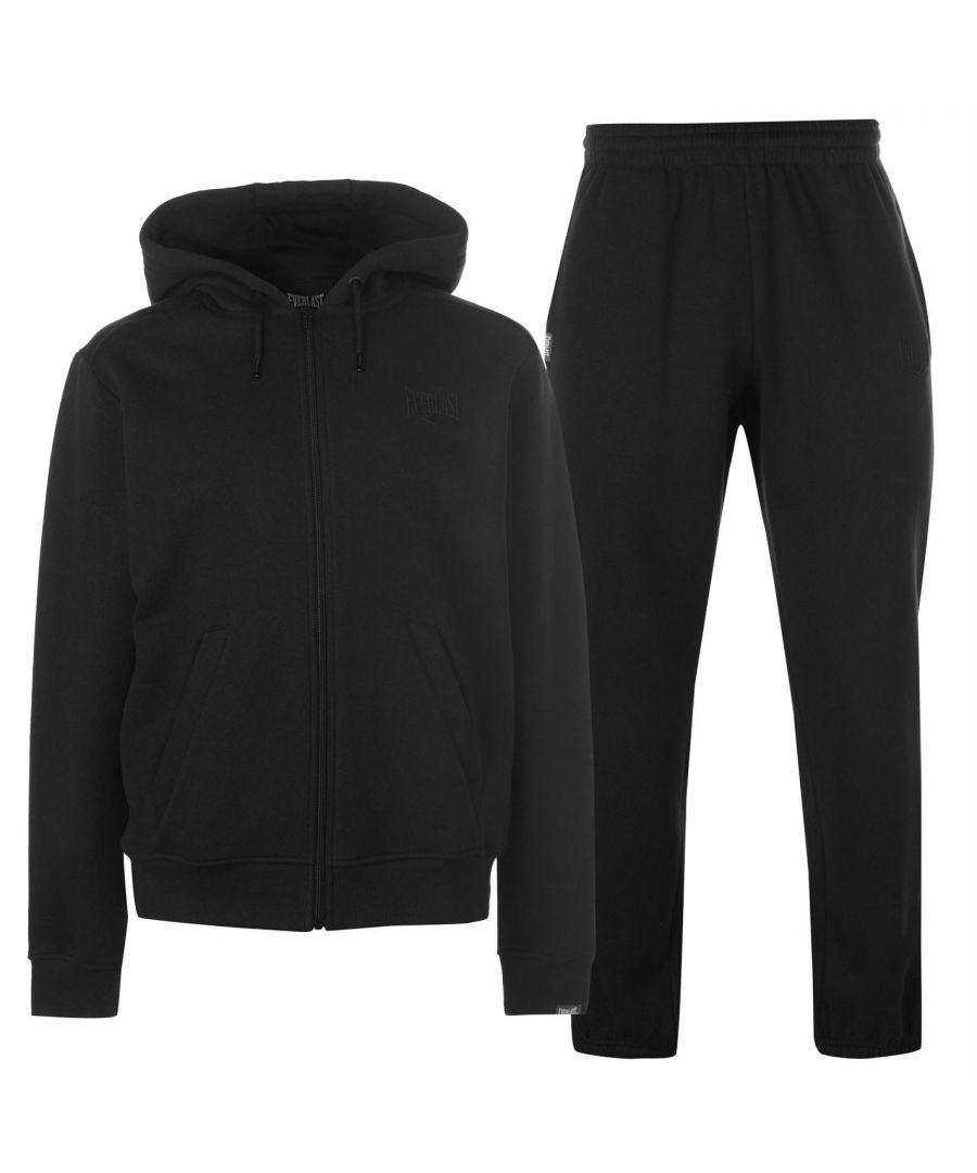 Image for Everlast Mens Jog Suit Fleece Tracksuit Hooded Zip Drawstring Elasticated Cuffs