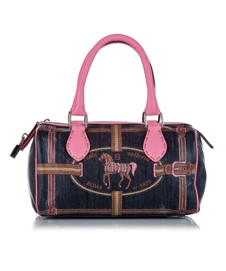 Image for Vintage Fendi Selleria Denim Boston Bag Blue