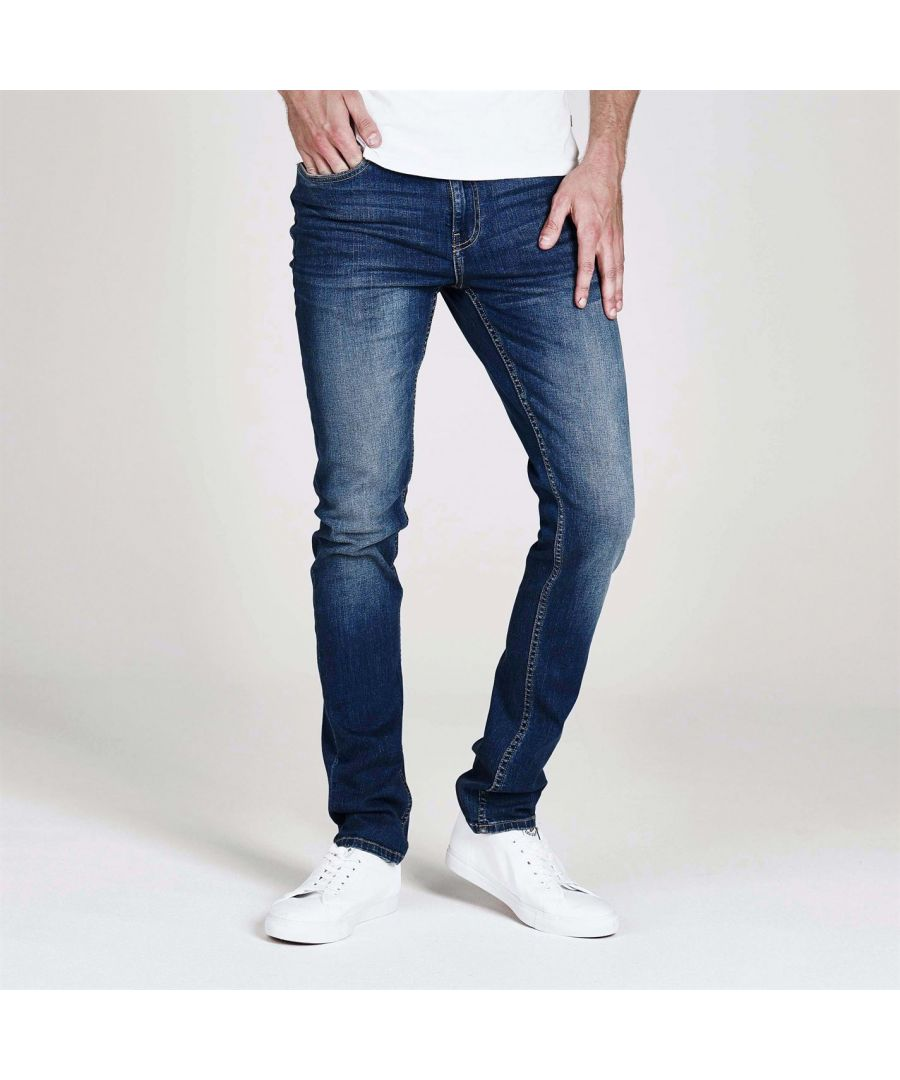 Image for Firetrap Mens Skinny Jeans Tonal Stitching Denim Trousers Casual Pants Bottoms