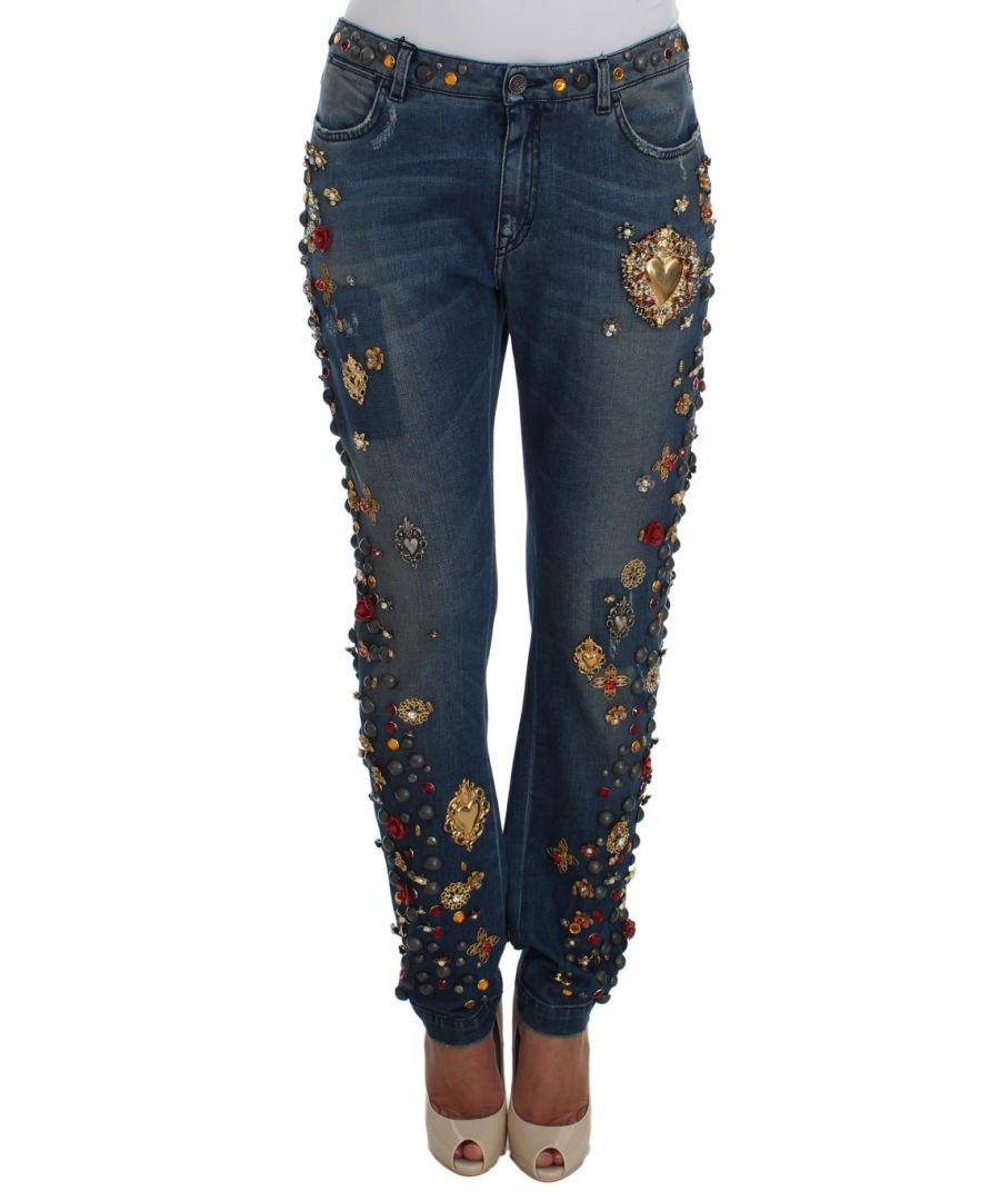 Image for Dolce & Gabbana Crystal Roses Heart Embellished Jeans