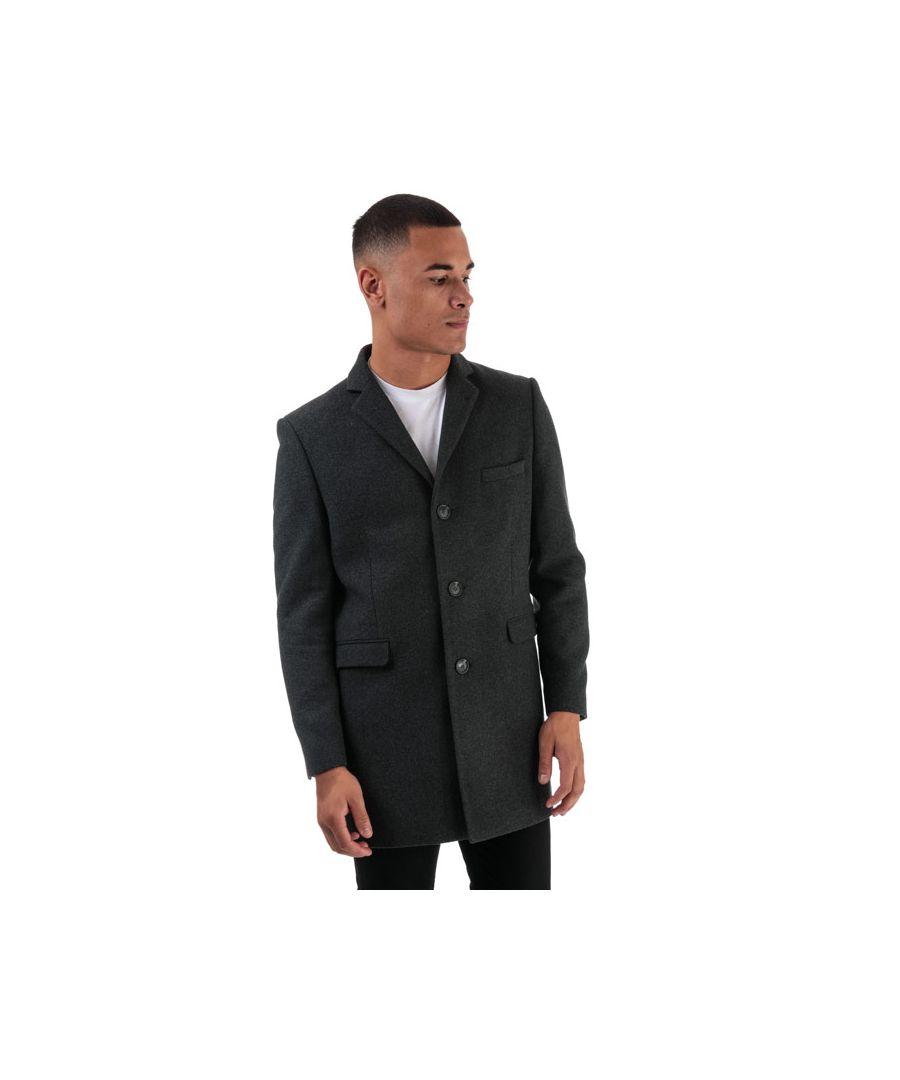 Image for Men's Ben Sherman 3 Button Crombie Overcoat in Charcoal