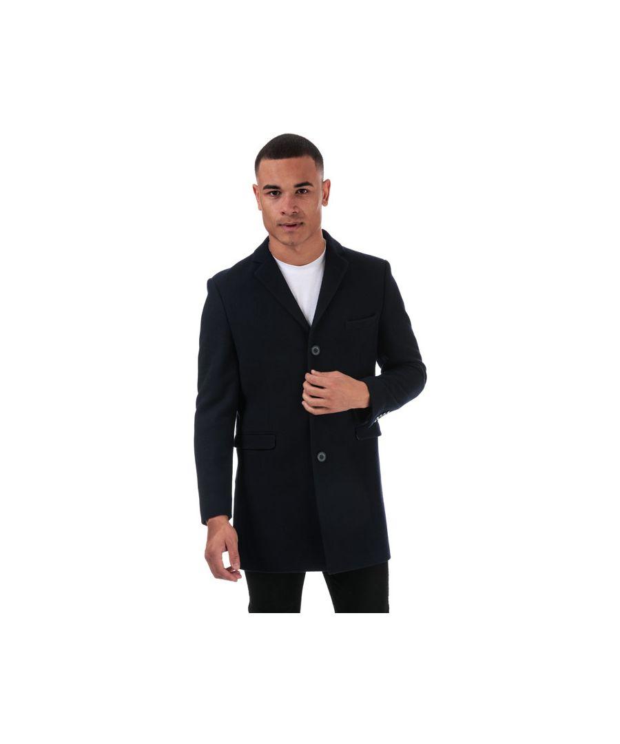 Image for Men's Ben Sherman 3 Button Crombie Overcoat in Navy