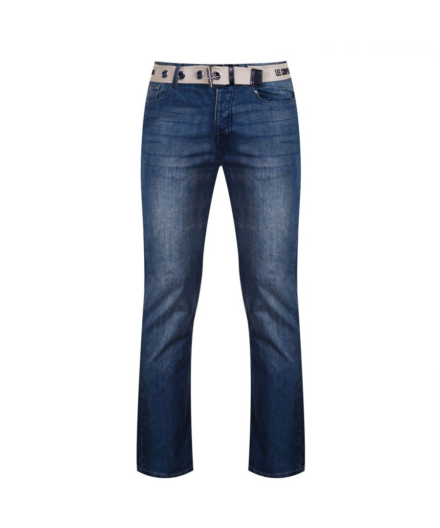 Image for Lee Cooper Mens Belted Casual Jeans Bottoms Belt Included Wash Effect Button Fly