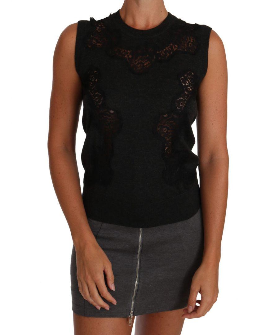 Image for Dolce & Gabbana Cami Gray Silk Cashmere Cutout Top