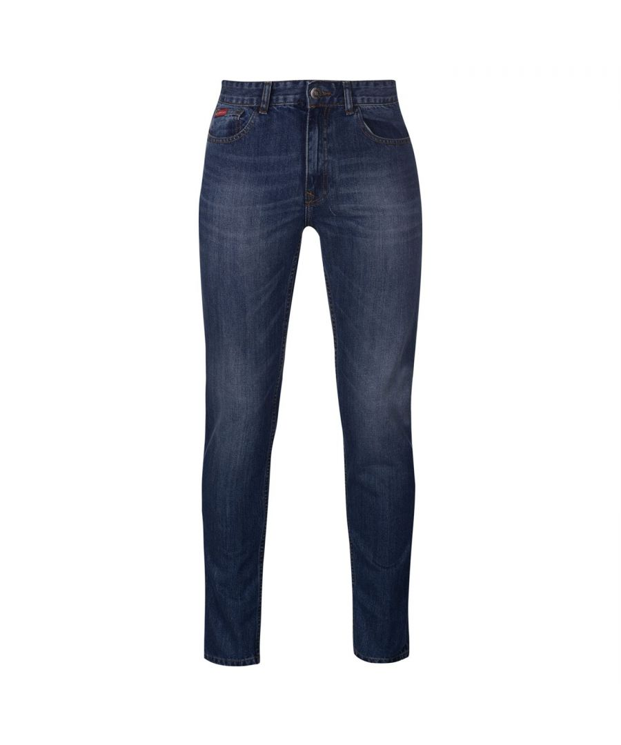 Image for Lee Cooper Mens Slim Leg Casual Jeans 100% Cotton Brown Stitching Zip Fly Bottom