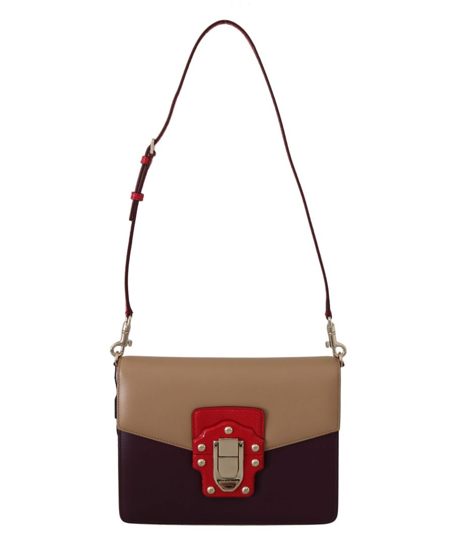 Image for Dolce & Gabbana Purple Beige Red Leather Crossbody LUCIA Purse
