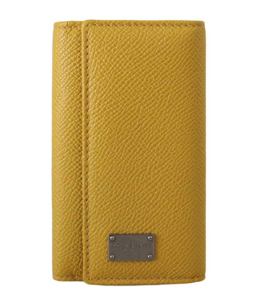 Image for Dolce & Gabbana Yellow Leather Wallet Case Mens Finder Chain Keyring