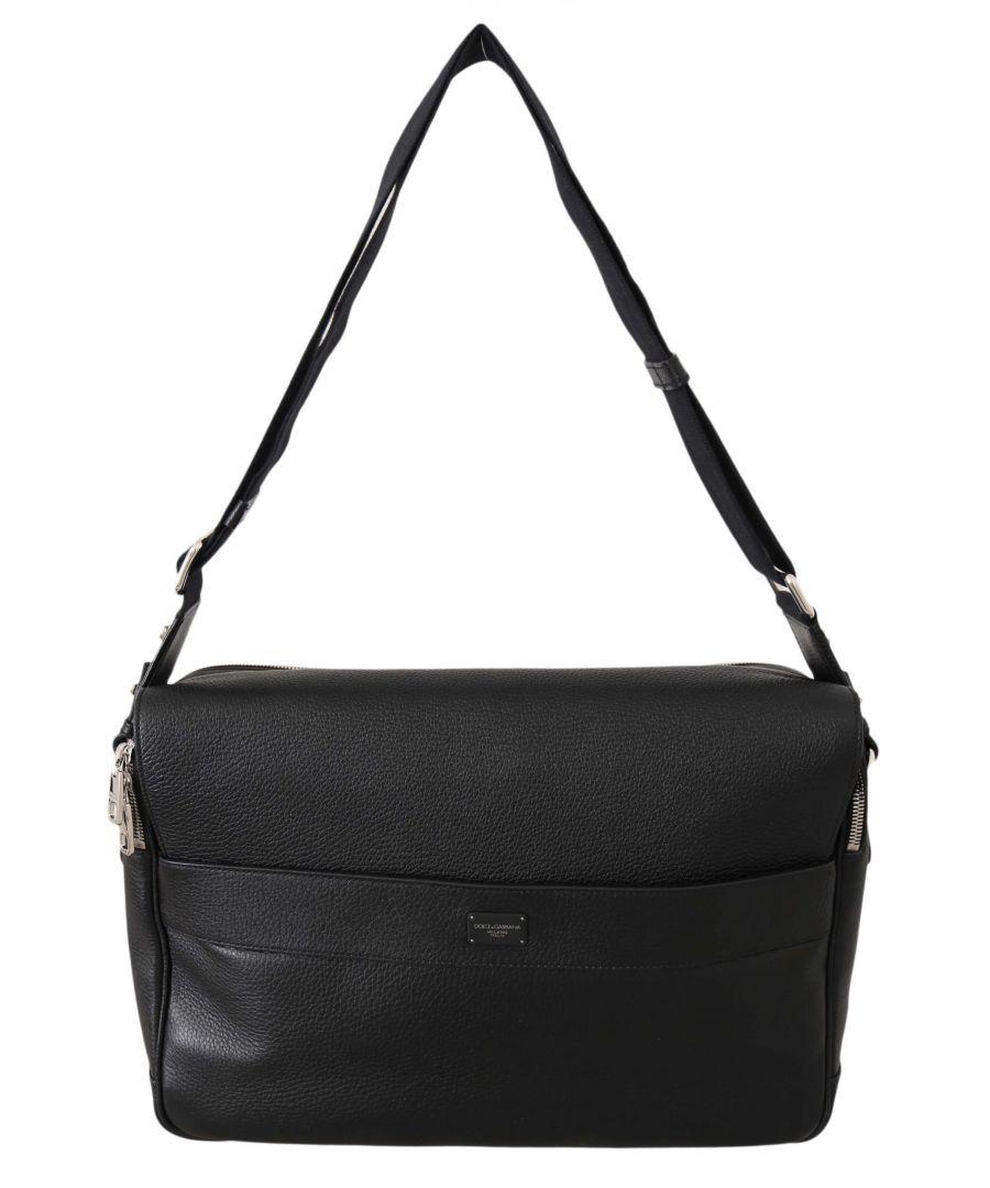 Image for Dolce & Gabbana Black Leather Cross Body Messenger Travel School Bag