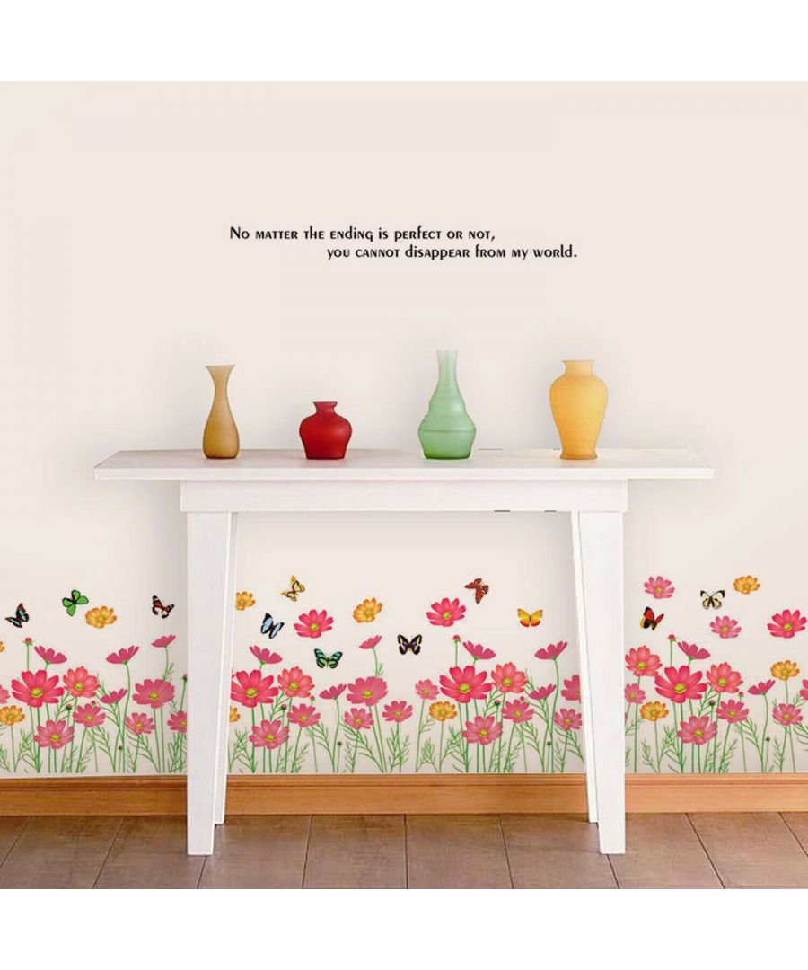 Image for Pink Colourful Flower, Peel and Stick, self-adhesive, Living Room Wall Sticker