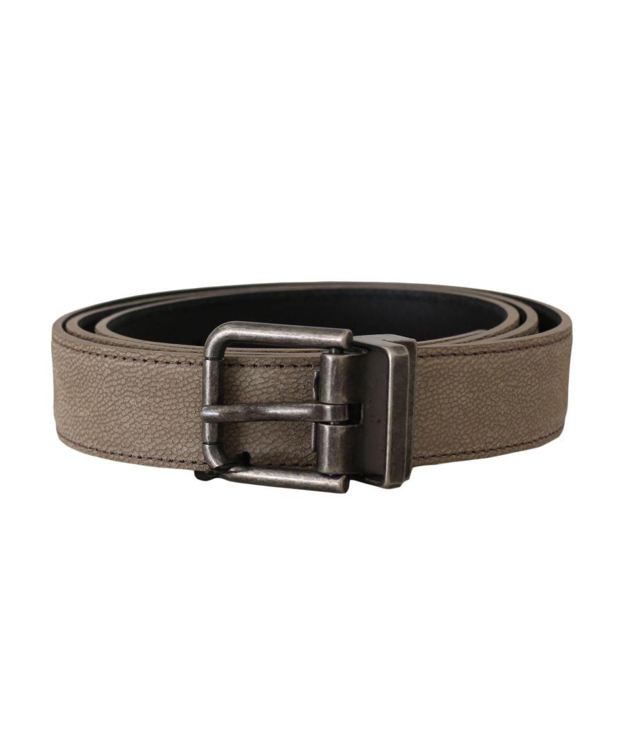 Image for Dolce & Gabbana Brown Leather Brushed Metal Buckle Belt