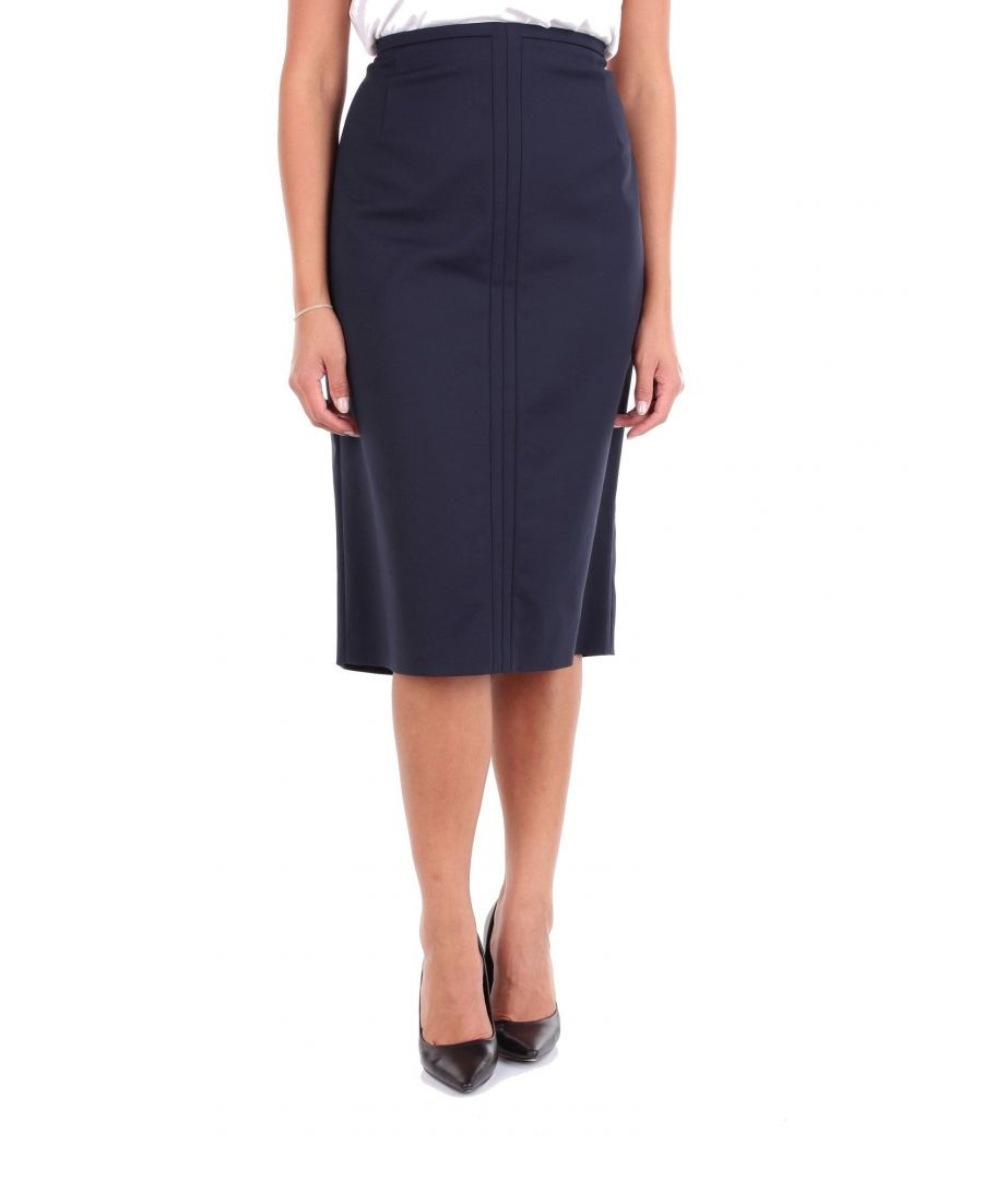 Image for LES COPAINS WOMEN'S 0L4031BLUE BLUE COTTON SKIRT