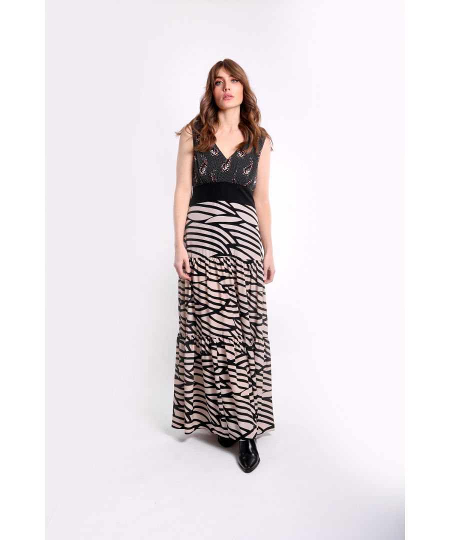 Image for Constrast Mia Maxi Dress in White and Black