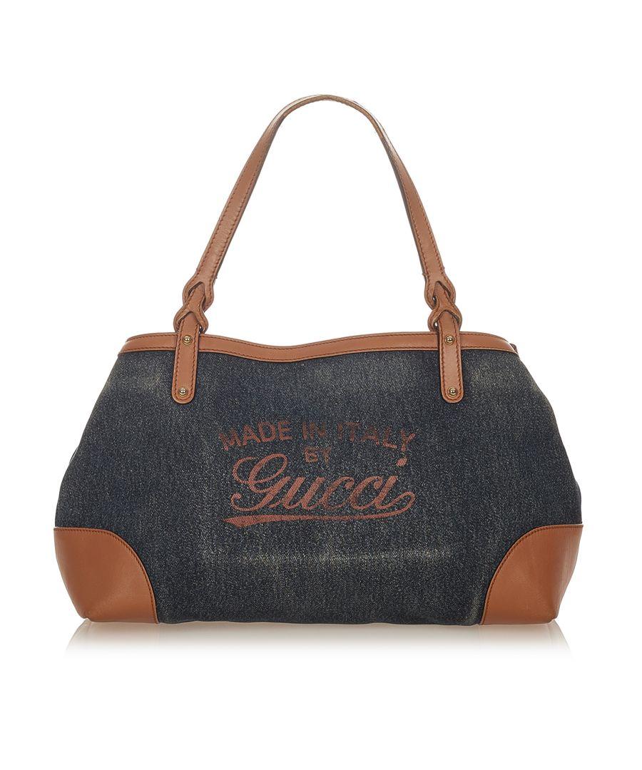 Image for Vintage Gucci Craft Denim Tote Bag Blue