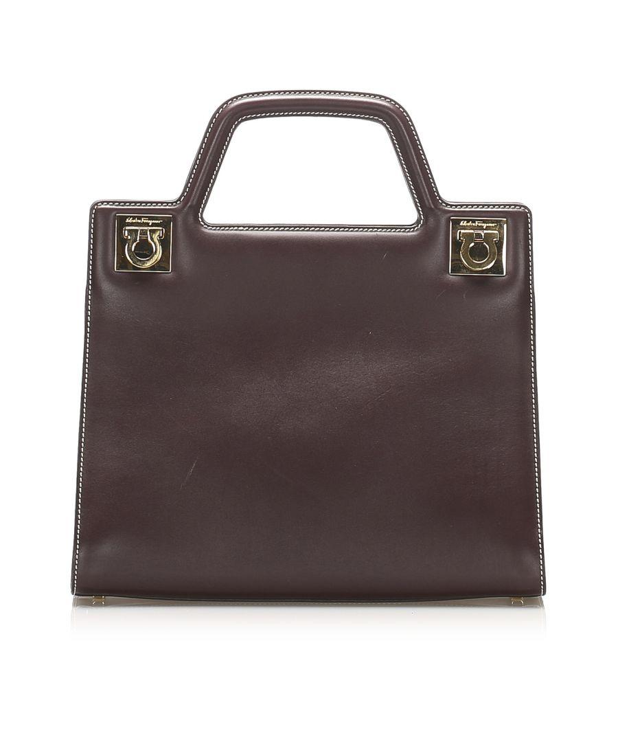 Image for Vintage Ferragamo Gancini Leather Handbag Brown