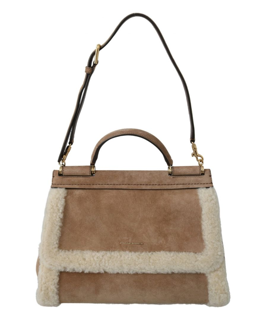 Image for Dolce & Gabbana Brown Suede White Shearling Purse Borse Satchel SICILY Bag