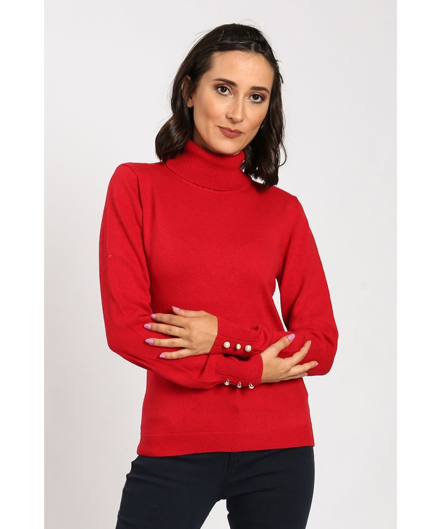Image for Turtleneck Sweater with Pearl Buttons on Sleeves