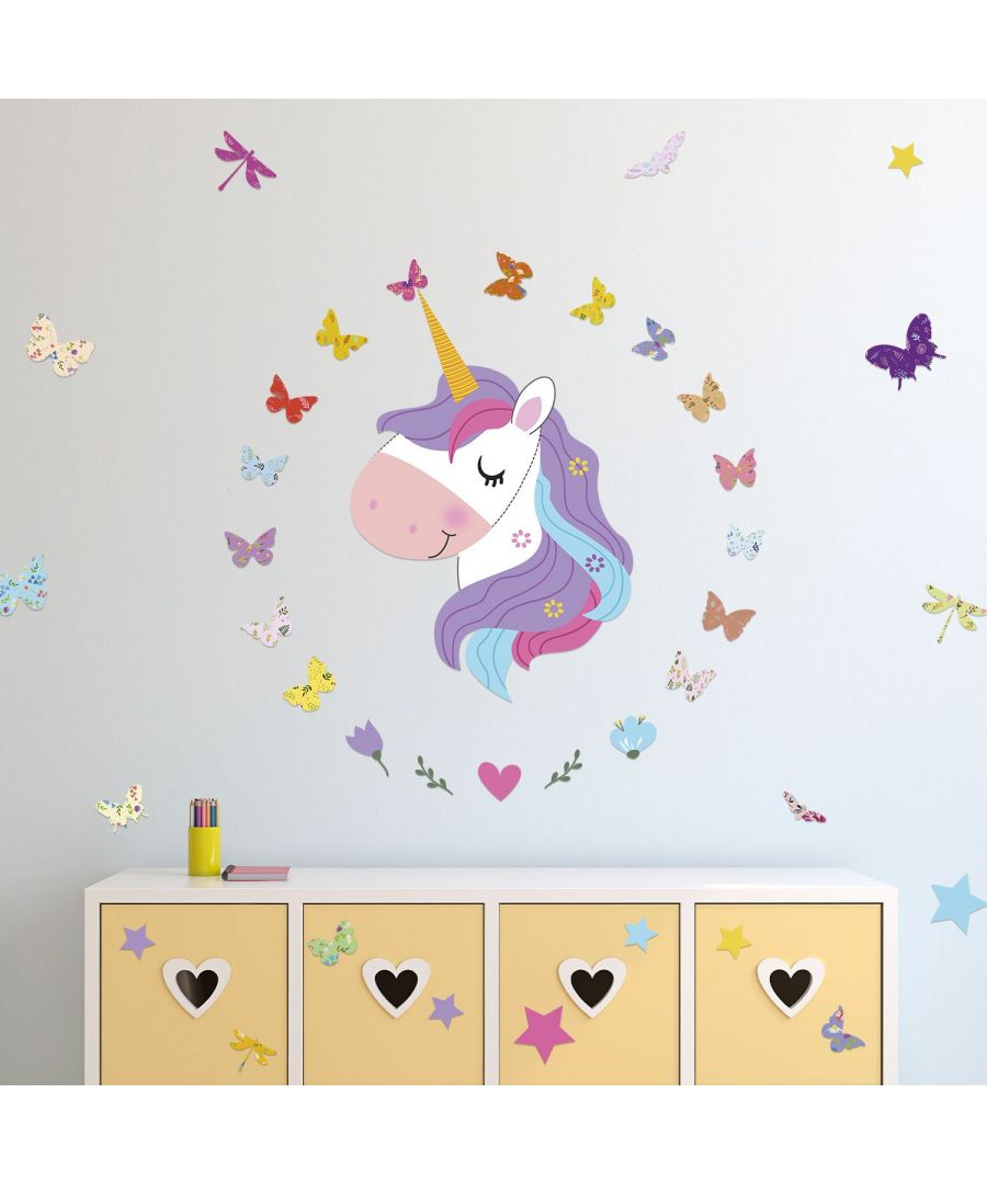 Image for Wall Art - Magical Unicorn And Butterflies