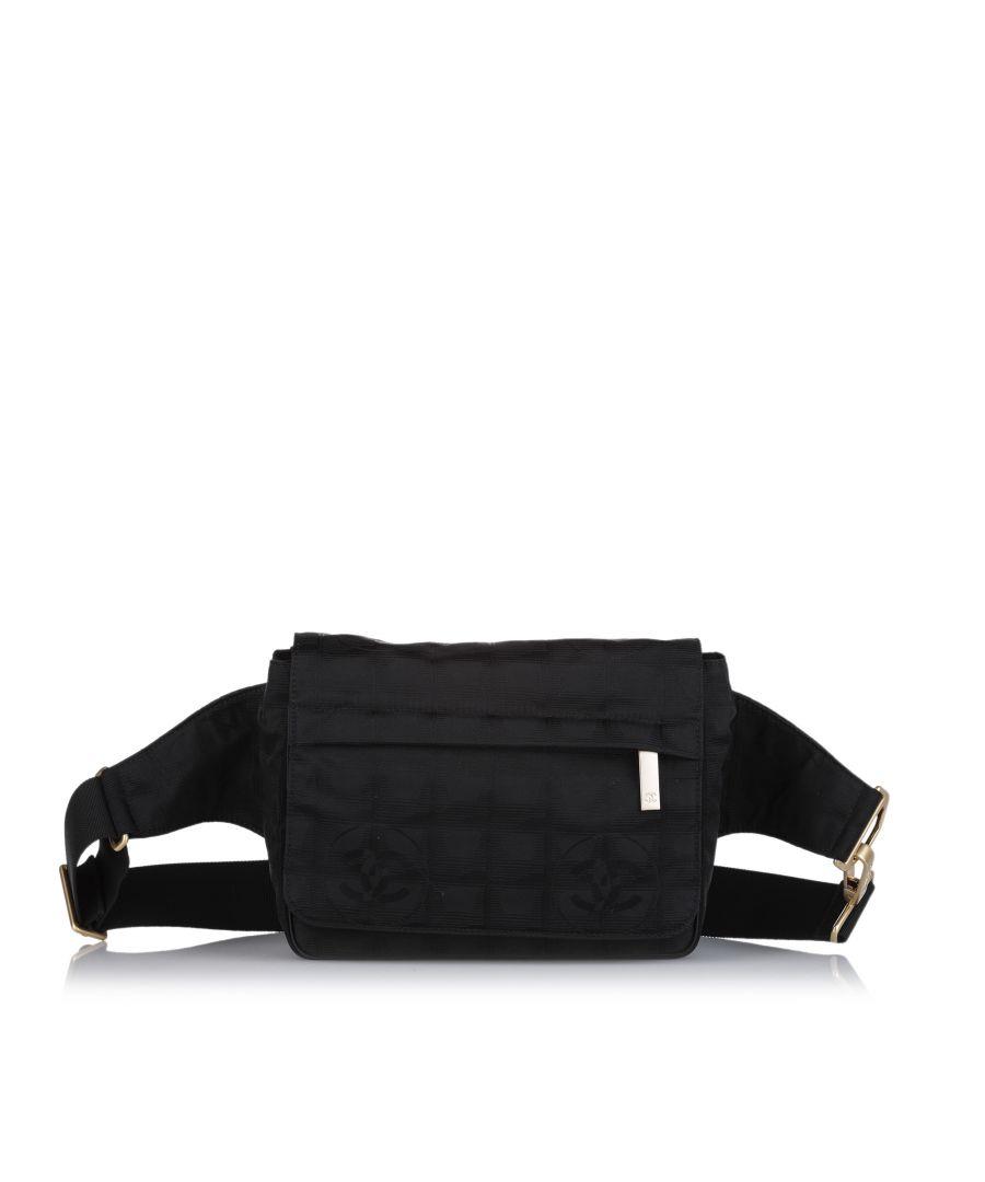 Image for Vintage Chanel New Travel Line Canvas Belt Bag Black