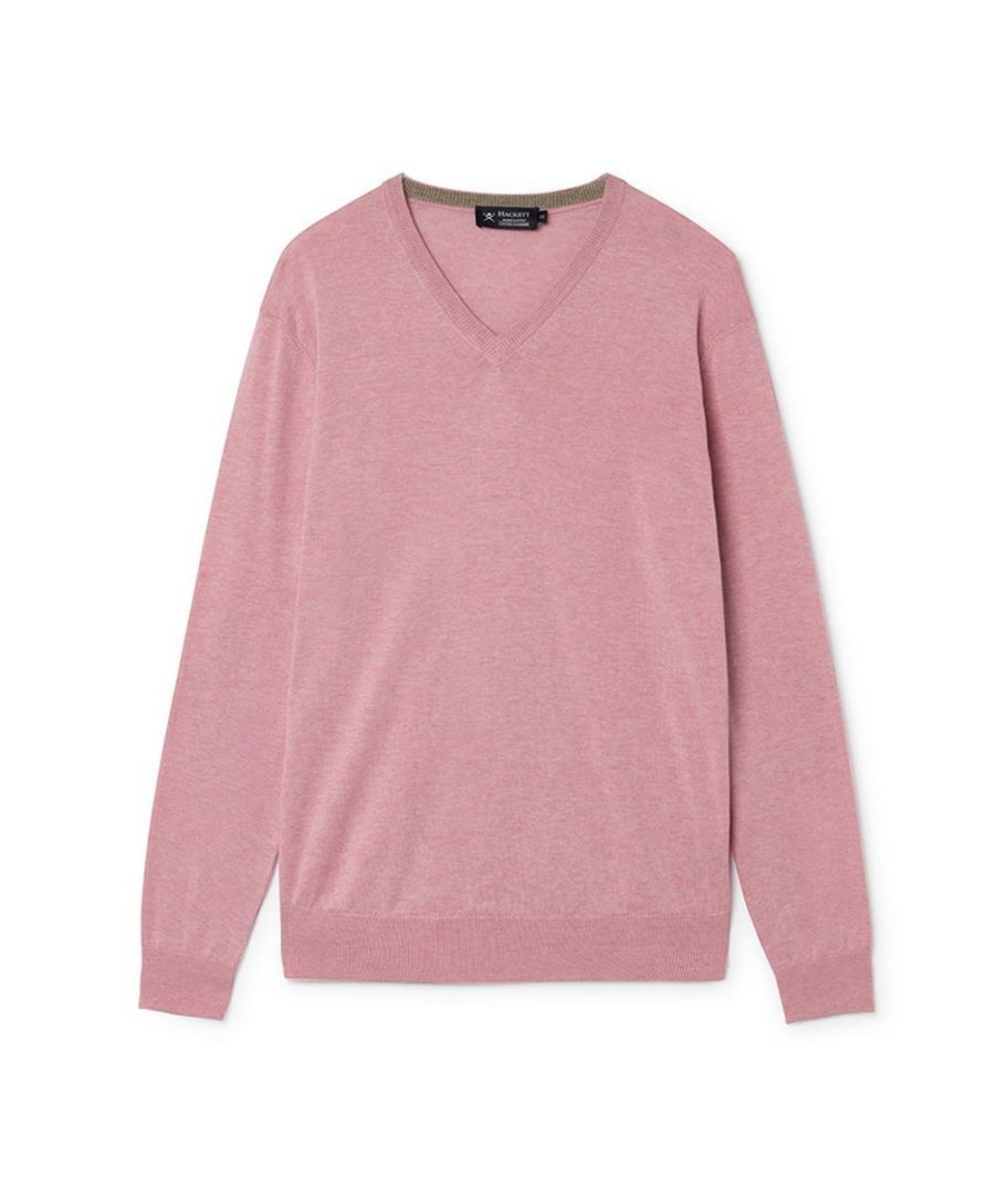 Image for Men's Hackett, Cotton & Cashmere V Neck Sweater in Pale Pink